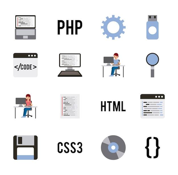 Programmcodierung setzt icons für websprachen