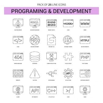Programmier- und entwicklungs-linie ikonen-satz - 25 gestrichelte entwurfs-art