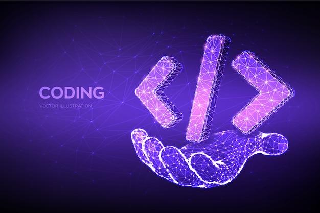Programmiercodesymbol. 3d niedriges polygonales abstraktes programmiercodesymbol in der hand.