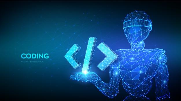 Programmiercodesymbol. abstrakter 3d-roboter, der programmiercodesymbol in der hand hält.