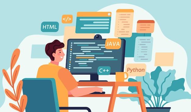 Programmierer arbeitet. programm- oder webentwickler-codierung auf dem computer. bildschirm mit code, skript und geöffneten fenstern. coder-ingenieur-vektor-konzept. programmierer für illustrationsentwicklung, programmierung und codierung