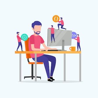 Programmierer codieren die website auf dem computer