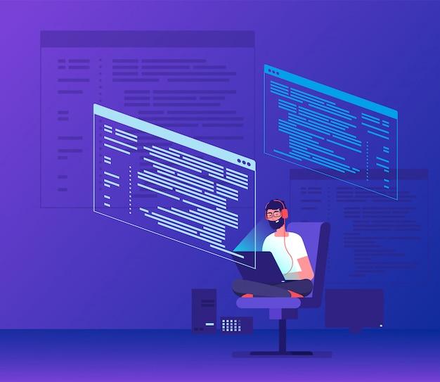 Programmierer-codierung. freiberufler des jungen mannes, der an programmcode mit laptop arbeitet. aussenseitercodierungssoftware-vektorkonzept