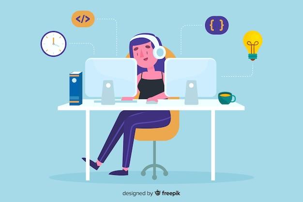 Programmierer, der am schreibtisch arbeitet