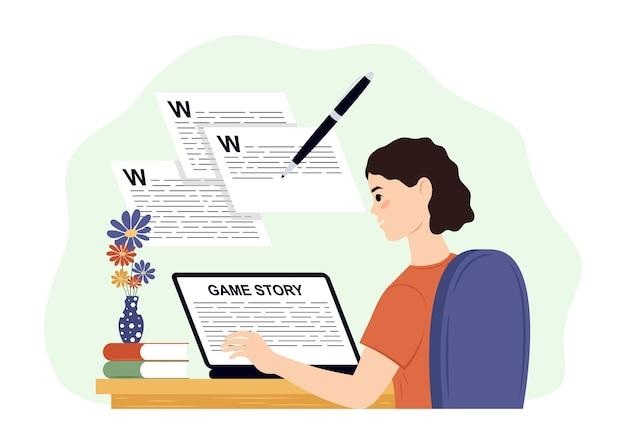 Programmierer, der an der webentwicklung am computerdesign und -entwicklungsillustrationskonzept von scr...