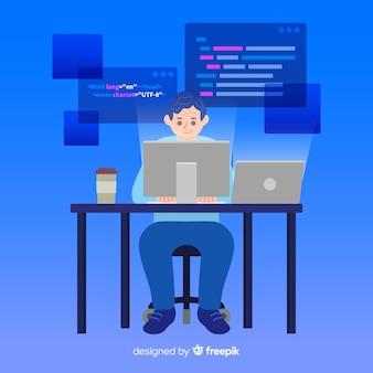 Programmierer, der seinen job im büro erledigt
