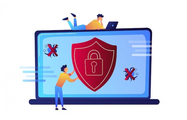 Programmierer, der versucht, seinen laptop vor virusvektorillustration zu schützen.