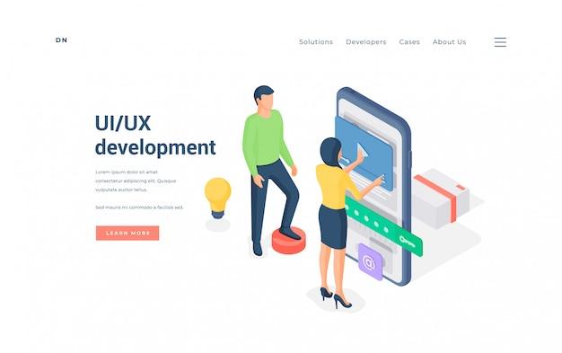 Programmierer, die gemeinsam die app-benutzeroberfläche entwickeln. illustration