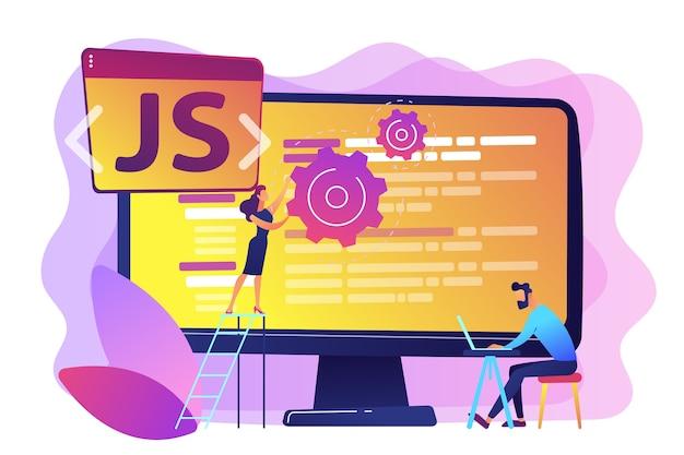 Programmierer, die javascript-programmiersprache auf dem computer verwenden, winzige leute. javascript-sprache, javascript-engine, js-webentwicklungskonzept. helle lebendige violette isolierte illustration