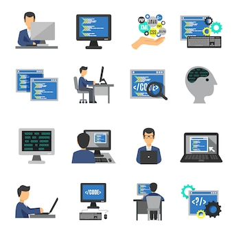 Programmierer icons flat set