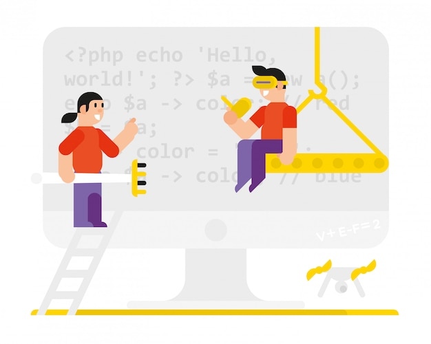 Programmierer im stil der karikatur. vektor.