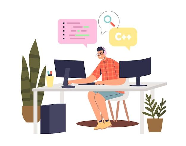 Programmierer mann codierung am computer
