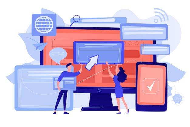 Programmierer mit browserfenstern und pc und tablet. browserübergreifende kompatibilität, browserübergreifendes und browserkompatibles konzept