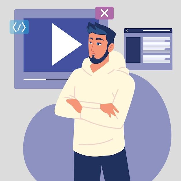 Programmierer mit video