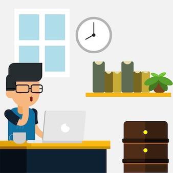 Programmierer oder designer auf seinem arbeitsbereich