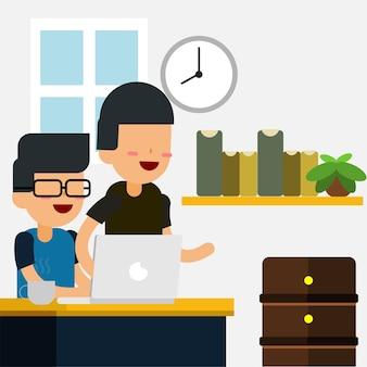 Programmierer oder designer auf seinem arbeitsplatz mit freund