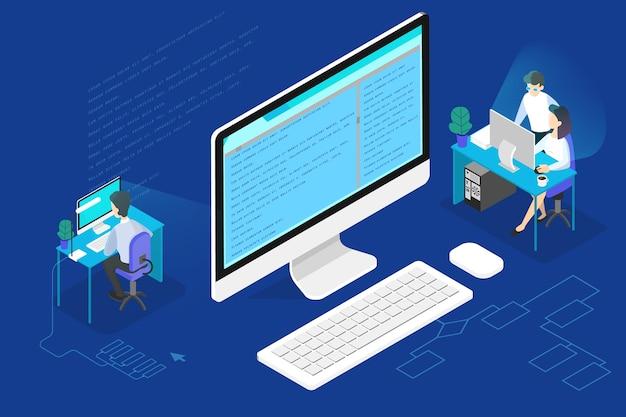 Programmierer- oder webentwicklerkonzept. arbeiten an computer-, codierungs- und programmiersoftware. isometrische darstellung