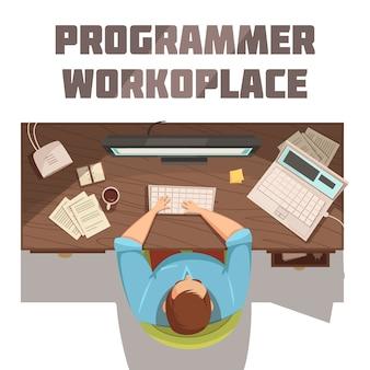 Programmiererarbeitsplatz-karikaturkonzept mit kaffeepapieren und computervektorillustration