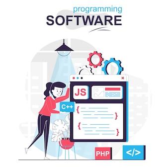 Programmiersoftware isoliertes cartoon-konzept programmierer arbeitet an codeprogrammen