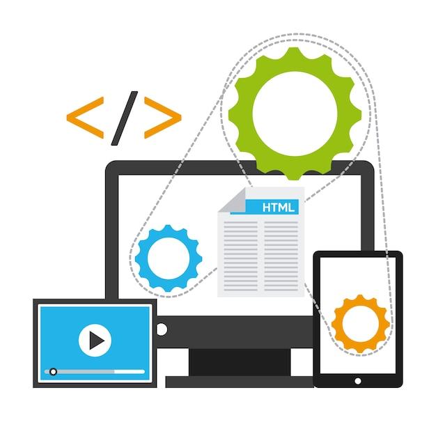 Programmiersoftwaredesign, grafik der vektorillustration eps10