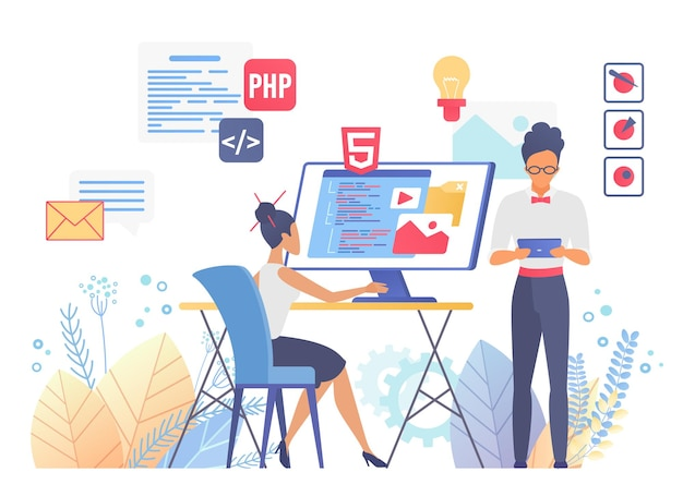 Programmierung und codierung, ux ui-webdesign, responsive interface-entwicklungskonzept