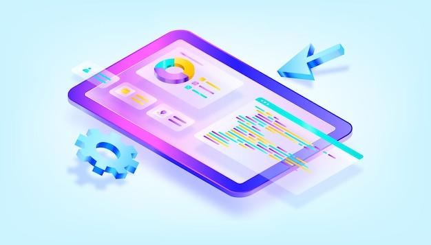 Programmierung und codierung von websites. webentwicklung und codierung. isometrische illustration mit 3d-verlauf