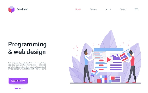 Programmierung von webdesign-landingpage-programmierern designern erstellen website-inhalte