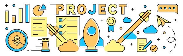 Projekt-illustrations-hintergrund und fahne