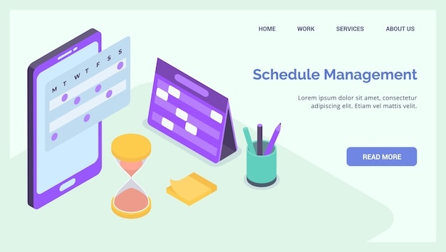 Projekt zeitplan-management-geschäft für website landing homepage vorlage banner isometrisch