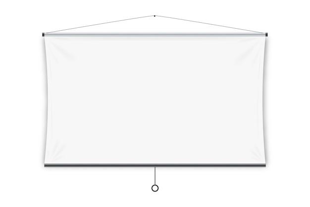 Projektionswand. leere weiße hängende projektionsbildschirmanzeige. bildung, visuelle präsentation, geschäftskonferenzkonzept