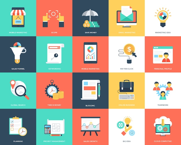 Projektmanagement flache icons pack