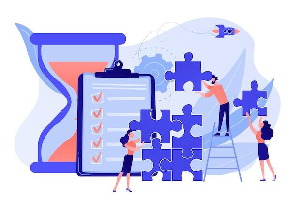 Projektmanagement. geschäftsprozess und planung, workflow-organisation. kollegen arbeiten zusammen, teamwork