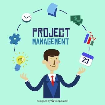 Projektmanagement-konzept in flachen stil