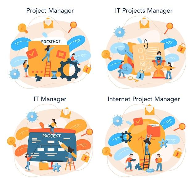 Projektmanagement-konzeptsatz