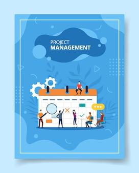 Projektmanagement-leute, die auf kalender, plakat sitzen.