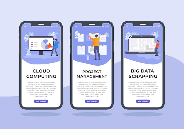 Projektmanagement mobile ui kit design. in diesem inhalt haben drei iphone-ui-vorlage, die cloud-computing, projektmanagement und big data scrapping ist.