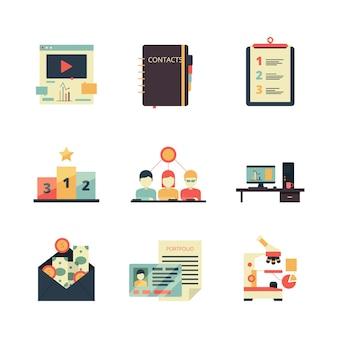 Projektmanagement-symbol. farbige symbole des geschäftsproduktplanungsaufzeichnungs-analyseweb-teams