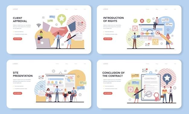 Projektmanagement-webbanner oder landingpage-set