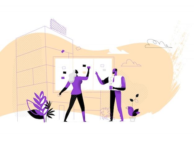 Projektmanager setzen aktivitäten und aufgaben an die tafel