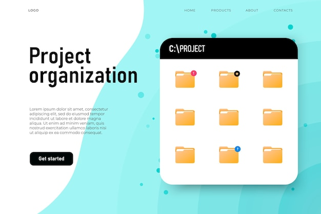 Projektorganisationsordner, board mit projektordnern.