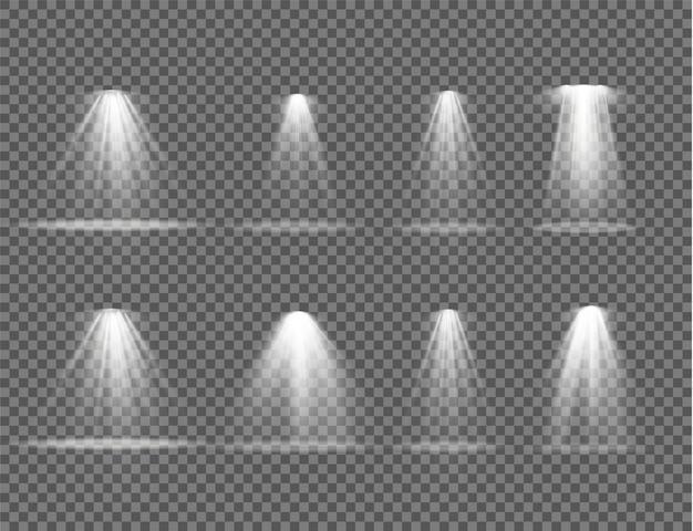 Projektorstrahl, scheinwerfer isoliert. lichtquellen, konzertbeleuchtung, bühnenscheinwerfer.