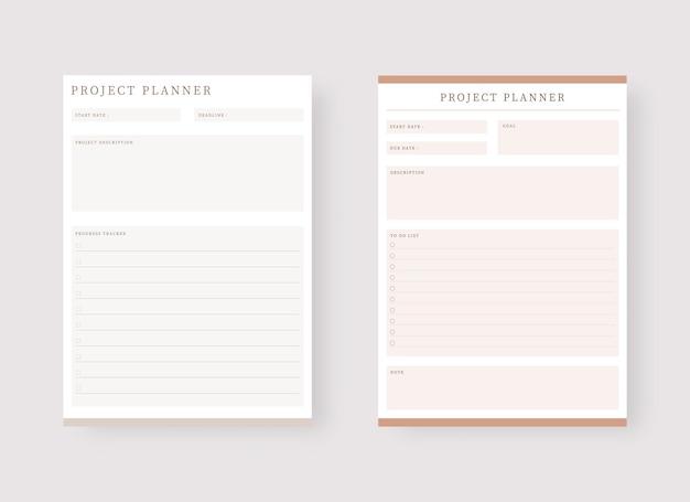 Projektplaner-vorlage set aus planer und aufgabenliste
