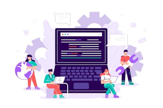 Projektteam von ingenieuren für die website