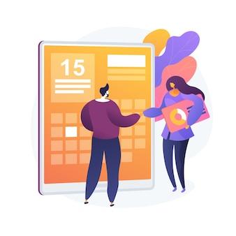 Projekttermin terminplanung. workflow-organisation, zeitoptimierung, agenda. isoliertes designelement für das office-event-management. unternehmensleiter.