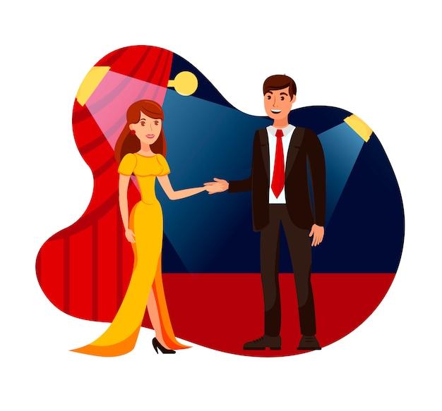Promi, berühmte leute auf roter teppich-flacher illustration