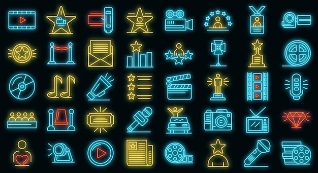 Promi-icons gesetzt. umrisse von promi-vektorsymbolen neonfarbe auf schwarz