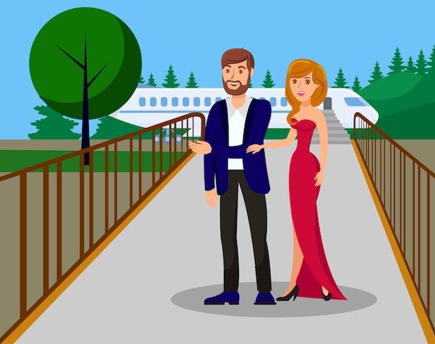 Promi-personen-ankunfts-flache farbvektor-illustration