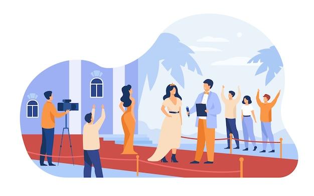 Prominente, die entlang des roten teppichs lokalisierte flache vektorillustration gehen. berühmte leute der karikatur, die zur paparazzi-kamera aufwerfen.