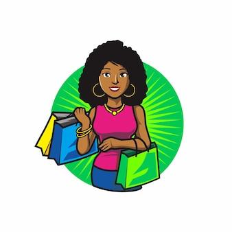 Prominente frauen mit einkaufstasche