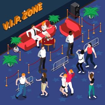 Prominente in der nachtclub-isometrischen illustration